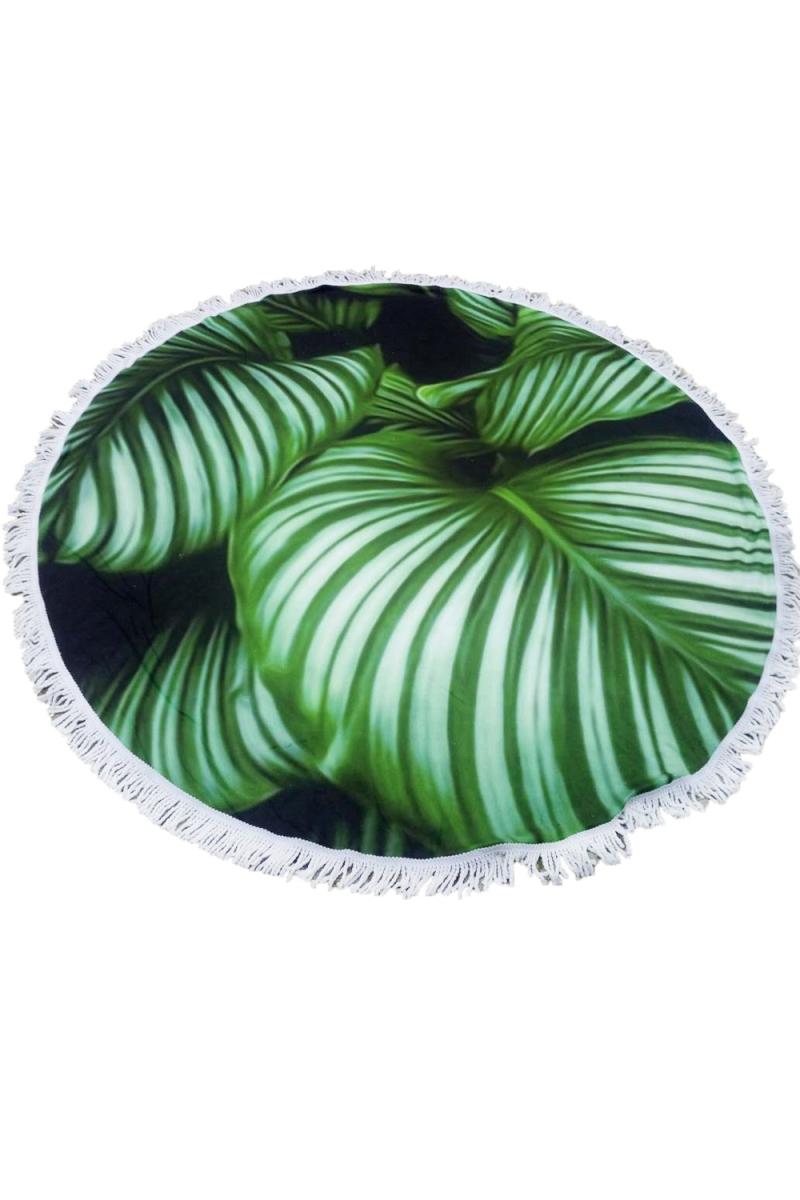 serviette-de-plage-ronde-tropicale-verte