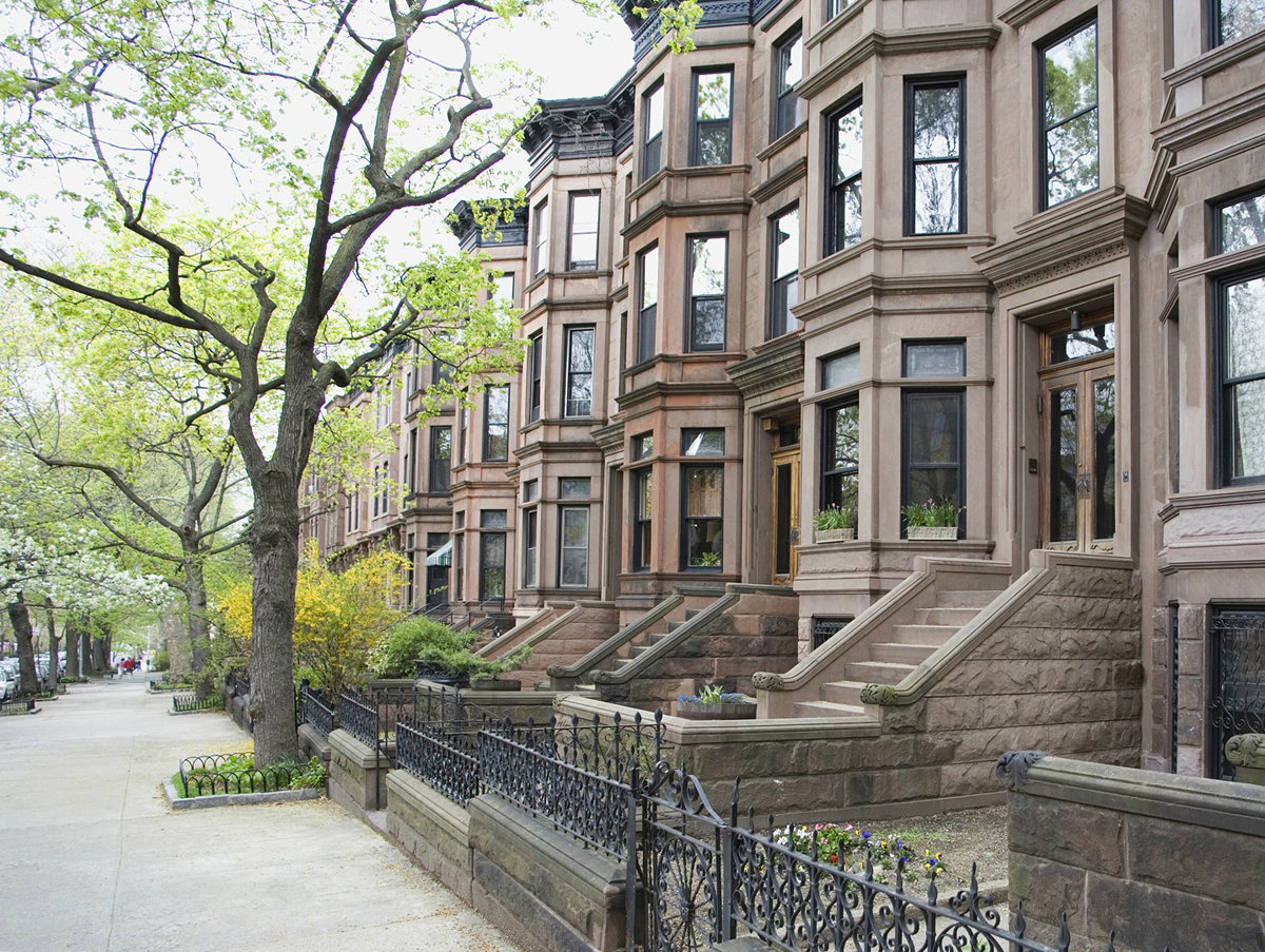 Brownstone townhouses, Brooklyn, New York City